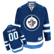 Reebok Winnipeg Jets Youth Customized Premier Navy Blue Home Jersey