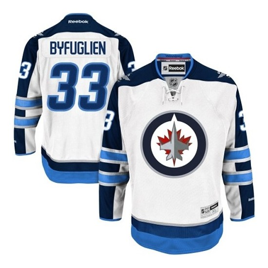 c89572c9348 Winnipeg Jets #33 Youth Dustin Byfuglien Reebok Authentic White Away Jersey