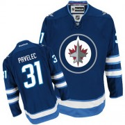 Winnipeg Jets #31 Men's Ondrej Pavelec Reebok Authentic Navy Blue Home Jersey