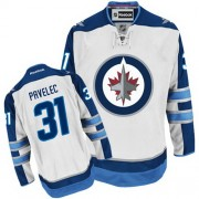Winnipeg Jets #31 Men's Ondrej Pavelec Reebok Authentic White Away Jersey