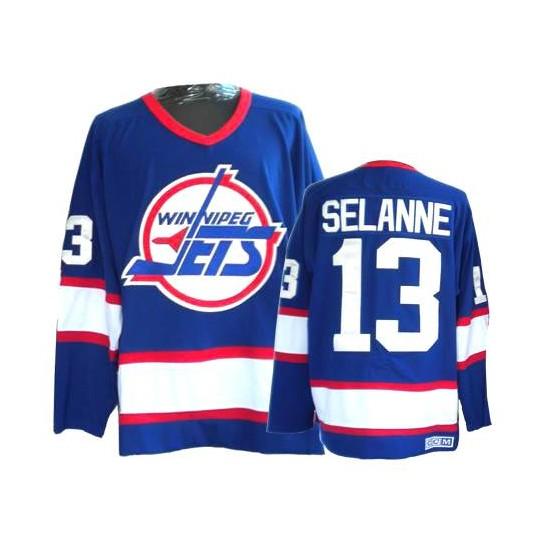8e79792e468 Winnipeg Jets #13 Men's Teemu Selanne CCM Authentic Blue Throwback Jersey
