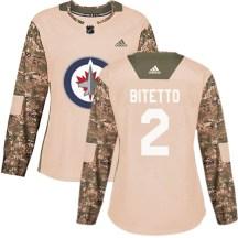 Winnipeg Jets Women's Anthony Bitetto Adidas Authentic Camo Veterans Day Practice Jersey