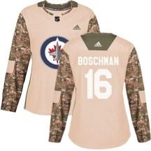 Winnipeg Jets Women's Laurie Boschman Adidas Authentic Camo Veterans Day Practice Jersey