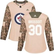 Winnipeg Jets Women's Laurent Brossoit Adidas Authentic Camo Veterans Day Practice Jersey