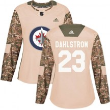 Winnipeg Jets Women's Carl Dahlstrom Adidas Authentic Camo Veterans Day Practice Jersey