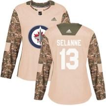 Winnipeg Jets Women's Teemu Selanne Adidas Authentic Camo Veterans Day Practice Jersey