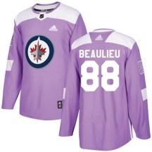 Winnipeg Jets Men's Nathan Beaulieu Adidas Authentic Purple Fights Cancer Practice Jersey