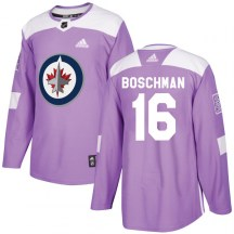 Winnipeg Jets Men's Laurie Boschman Adidas Authentic Purple Fights Cancer Practice Jersey