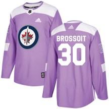 Winnipeg Jets Men's Laurent Brossoit Adidas Authentic Purple Fights Cancer Practice Jersey
