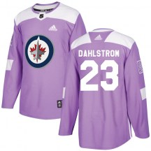 Winnipeg Jets Men's Carl Dahlstrom Adidas Authentic Purple Fights Cancer Practice Jersey