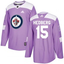 Winnipeg Jets Men's Anders Hedberg Adidas Authentic Purple Fights Cancer Practice Jersey