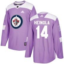 Winnipeg Jets Men's Ville Heinola Adidas Authentic Purple Fights Cancer Practice Jersey