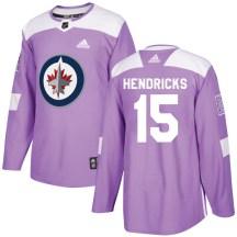Winnipeg Jets Men's Matt Hendricks Adidas Authentic Purple Fights Cancer Practice Jersey
