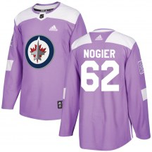 Winnipeg Jets Men's Nelson Nogier Adidas Authentic Purple Fights Cancer Practice Jersey