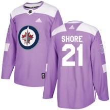 Winnipeg Jets Men's Nick Shore Adidas Authentic Purple Fights Cancer Practice Jersey