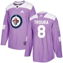 Winnipeg Jets Men's Jacob Trouba Adidas Authentic Purple Fights Cancer Practice Jersey