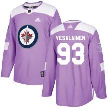Winnipeg Jets Men's Kristian Vesalainen Adidas Authentic Purple Fights Cancer Practice Jersey