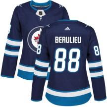 Winnipeg Jets Women's Nathan Beaulieu Adidas Authentic Navy Home Jersey