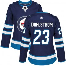 Winnipeg Jets Women's Carl Dahlstrom Adidas Authentic Navy Home Jersey
