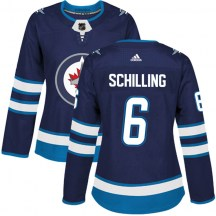 Winnipeg Jets Women's Cameron Schilling Adidas Authentic Navy Home Jersey