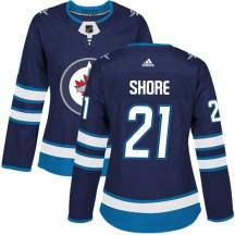 Winnipeg Jets Women's Nick Shore Adidas Authentic Navy Home Jersey
