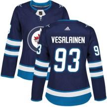 Winnipeg Jets Women's Kristian Vesalainen Adidas Authentic Navy Home Jersey