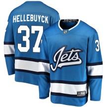 Winnipeg Jets Men's Connor Hellebuyck Fanatics Branded Breakaway Blue Alternate Jersey