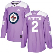 Winnipeg Jets Youth Anthony Bitetto Adidas Authentic Purple Fights Cancer Practice Jersey