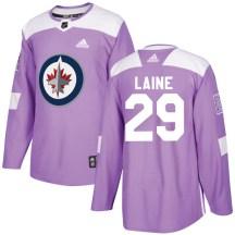 Winnipeg Jets Youth Patrik Laine Adidas Authentic Purple Fights Cancer Practice Jersey