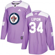 Winnipeg Jets Youth J.C. Lipon Adidas Authentic Purple Fights Cancer Practice Jersey