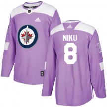 Winnipeg Jets Youth Sami Niku Adidas Authentic Purple Fights Cancer Practice Jersey