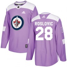 Winnipeg Jets Youth Jack Roslovic Adidas Authentic Purple Fights Cancer Practice Jersey