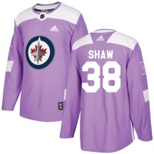 Winnipeg Jets Youth Logan Shaw Adidas Authentic Purple Fights Cancer Practice Jersey