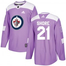 Winnipeg Jets Youth Nick Shore Adidas Authentic Purple Fights Cancer Practice Jersey