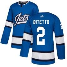 Winnipeg Jets Men's Anthony Bitetto Adidas Authentic Blue Alternate Jersey