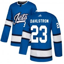 Winnipeg Jets Men's Carl Dahlstrom Adidas Authentic Blue Alternate Jersey