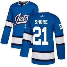Winnipeg Jets Men's Nick Shore Adidas Authentic Blue Alternate Jersey