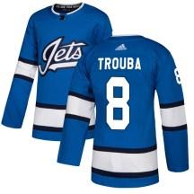 Winnipeg Jets Men's Jacob Trouba Adidas Authentic Blue Alternate Jersey