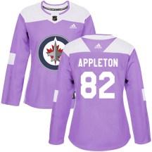 Winnipeg Jets Women's Mason Appleton Adidas Authentic Purple Fights Cancer Practice Jersey