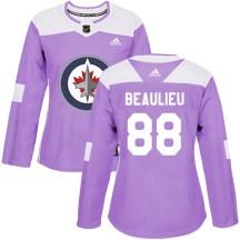 Winnipeg Jets Women's Nathan Beaulieu Adidas Authentic Purple Fights Cancer Practice Jersey