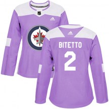 Winnipeg Jets Women's Anthony Bitetto Adidas Authentic Purple Fights Cancer Practice Jersey