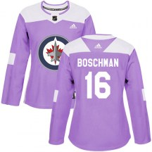 Winnipeg Jets Women's Laurie Boschman Adidas Authentic Purple Fights Cancer Practice Jersey