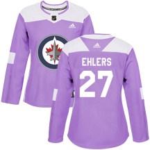 Winnipeg Jets Women's Nikolaj Ehlers Adidas Authentic Purple Fights Cancer Practice Jersey