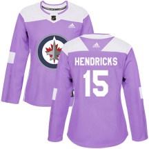 Winnipeg Jets Women's Matt Hendricks Adidas Authentic Purple Fights Cancer Practice Jersey