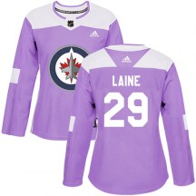 Winnipeg Jets Women's Patrik Laine Adidas Authentic Purple Fights Cancer Practice Jersey