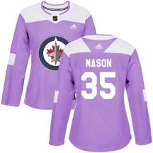 Winnipeg Jets Women's Steve Mason Adidas Authentic Purple Fights Cancer Practice Jersey