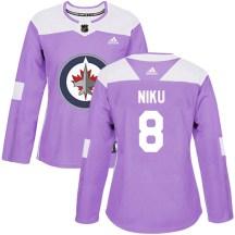 Winnipeg Jets Women's Sami Niku Adidas Authentic Purple Fights Cancer Practice Jersey