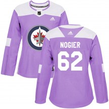 Winnipeg Jets Women's Nelson Nogier Adidas Authentic Purple Fights Cancer Practice Jersey