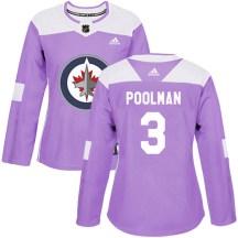 Winnipeg Jets Women's Tucker Poolman Adidas Authentic Purple Fights Cancer Practice Jersey