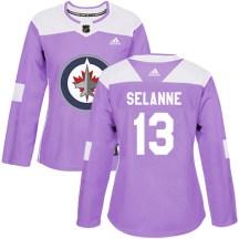 Winnipeg Jets Women's Teemu Selanne Adidas Authentic Purple Fights Cancer Practice Jersey